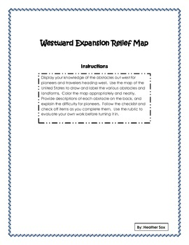 Westward Expansion Relief Map Assignment