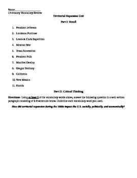 Westward Expansion Review Sheet