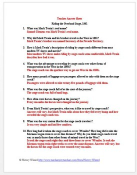 Westward Expansion: Riding The Overland Stage, 1861 Primary Source Worksheet