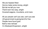 "Westward Expansion Song sung to ""Larger than Life"" by Back"