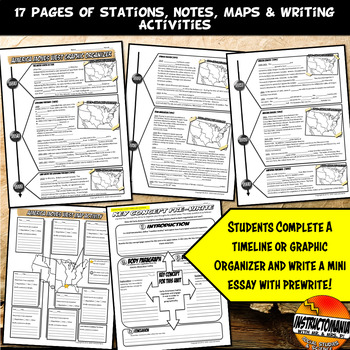 Westward Expansion Stations, Annotated Timeline,Graphic Organizer & Map Activity