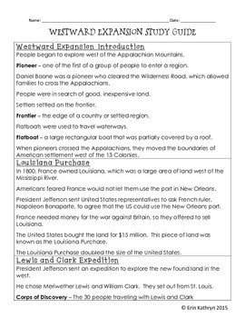 Westward Expansion Study Guide and Test