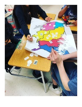 Westward Expansion Table Map Activity