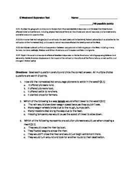 Westward Expansion Test/Unit Assessment