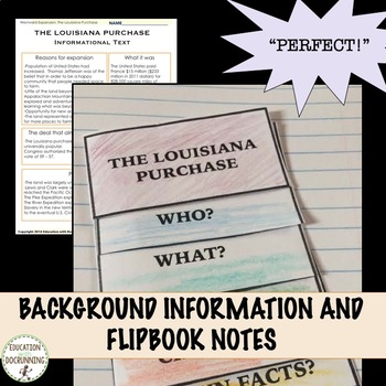 Westward Expansion The Louisiana Purchase Notes and Center Activities