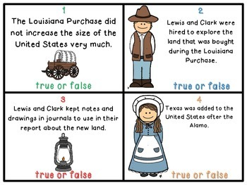 Westward Expansion True or False Task Cards