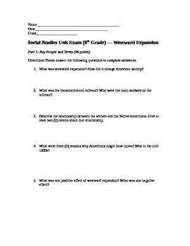 Westward Expansion Unit Exam