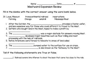 Westward Expansion Unit Review