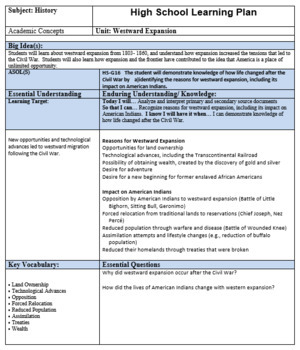 Westward Expansion VAAP HS G 16 Visual Helper Autism