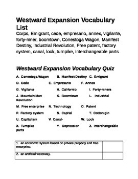 Westward Expansion Vocabulary