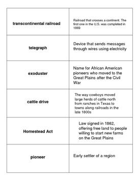 Westward Expansion Vocabulary Match Up