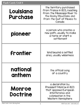 Westward Expansion Vocabulary Posters, Flash Cards, and Word Wall Cards