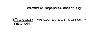 Westward Expansion Vocabulary Words