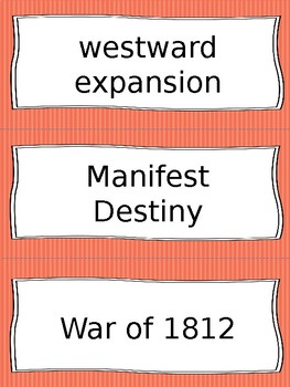 Westward Expansion/War of 1812 Vocabulary Cards - SS4H3, SS4G2