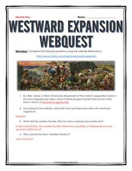 Westward Expansion - Webquest with Key