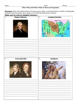 Westward Expansion: Who's Who and What's What Assignment