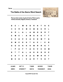 The Battle of the Alamo Word Search (Grades 3-5)