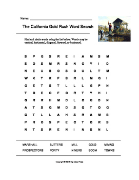 The California Gold Rush Word Search (Grades 3-5)