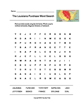 The Louisiana Purchase Word Search (Grades 3-5)