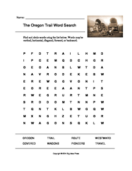 the oregon trail word search grades 3 5 by big ideas press tpt. Black Bedroom Furniture Sets. Home Design Ideas