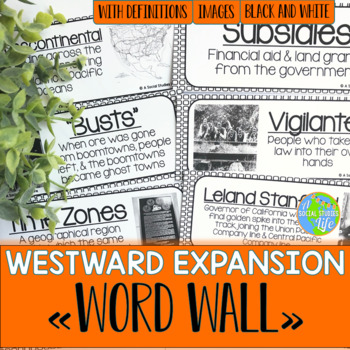 Westward Expansion Word Wall - Black and White