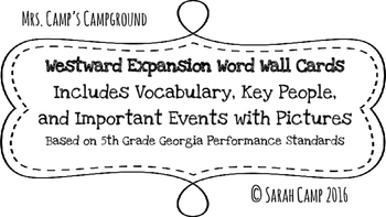 Westward Expansion Word Wall/Bulletin Board Cards