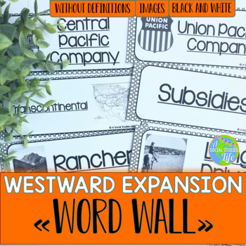 Westward Expansion Word Wall without definitions - Black and White