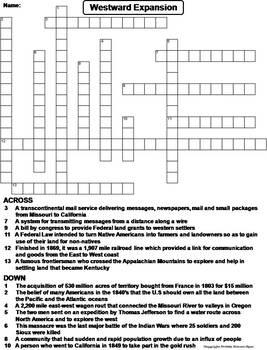 Westward Expansion Worksheet/ Crossword Puzzle