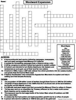 westward expansion worksheet crossword puzzle by science spot tpt. Black Bedroom Furniture Sets. Home Design Ideas