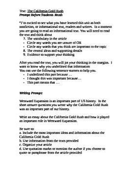 Westward Expansion Writing Task