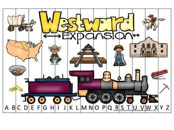 Westward Expansion themed Alphabet Sequence Puzzle preschool learning game.