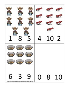 Westward Expansion themed Count and Clip Cards.  Preschool learning game.