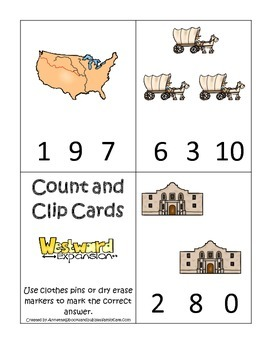 Westward Expansion themed Count and Clip Cards.  Preschool