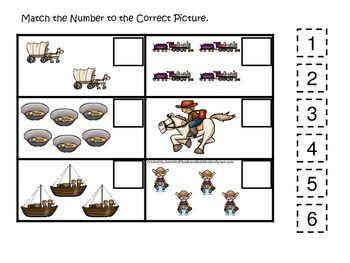 Westward Expansion themed Match the Number.  Preschool learning game.