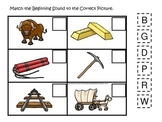 Westward Expansion themed Match the Sound.  Preschool learning game.
