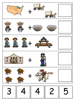 Westward Expansion themed Math Addition.  Preschool learning game.