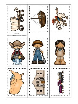 Westward Expansion themed Memory Matching Cards.  Preschool learning game.