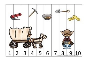 Westward Expansion themed Number Puzzle 1-10 preschool learning game.  Daycare.