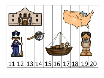 Westward Expansion themed Number Puzzle 11-20 preschool learning game.  Daycare.