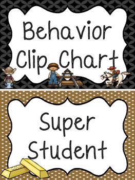 Westward Expansion themed Printable Behavior Clip Chart. Behavior Management
