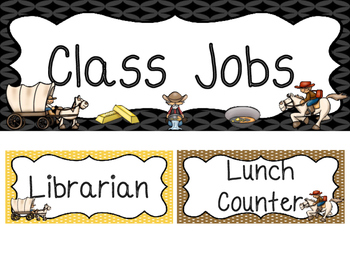 Westward Expansion themed Printable Class Jobs Labels Classroom Bulletin Board S