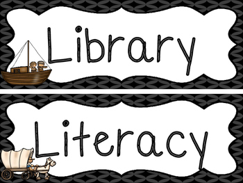 Westward Expansion themed Printable Classroom Center Signs