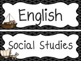 Westward Expansion themed Printable Classroom Subject Signs. Class Accessories.