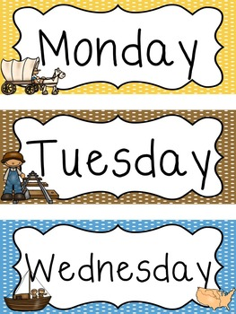 Westward Expansion themed Printable Days of the Week Classroom Bulletin Board Se