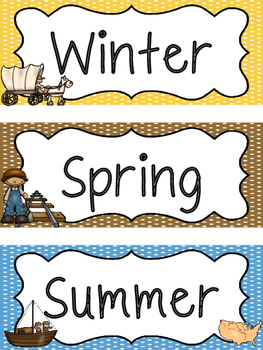 Westward Expansion themed Printable What Is the Season Bulletin Board Set.