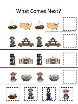 Westward Expansion themed What Comes Next preschool learning game.