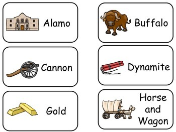 Westward Expansion themed printable Picture Word Flash Cards.Preschool flashcard