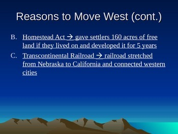 Westward Movement Powerpoint - Homestead Act