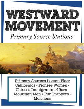 Westward Movement Primary Source Stations - covers six Manifest Destiny groups