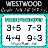 Westwood Number Facts Test - (A4 Size)